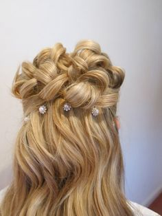Half up half down hair with curls Hair Colour, Color, Half Up Half Down Hair, Curled Hairstyles, Bobby Pins, Curls, Style Me, Hair Makeup, Hair Accessories