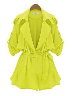 Yellow Long Sleeve Epaulet Belt Trench Coat