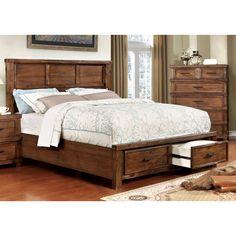 Stamson Rustic Antique Oak Wood Queen-size Storage Bed (Queen), Brown, Furniture of America