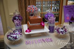 A beautiful chocolate cake surrounded by a lovely purple-themed candy bar! Beautiful Chocolate Cake, Desert Bar, Purple Candy, Candy Bars, Candies, Wedding Cakes, Deserts, Couple, Sweet