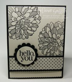 handmade greeting card ... black and white ... Hello You    message ... big dahlia stamp looks great in black and white ... Stampin' Up!