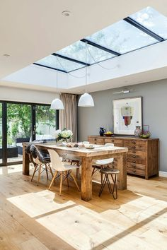 Flat ceiling plus large skylights.