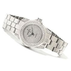 Invicta Womens Pro Diver Quartz 0.95ctw Diamond Pave Dial Bracelet Watch w/ Three-Slot Watch Box