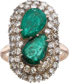 Emerald, Diamond, Silver-Topped Gold Ring.
