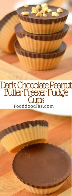 Creamy peanut butter and rich dark chocolate are the perfect combo especially in these Dark Chocolate Peanut Butter Freezer Fudge Cups. Quick and easy to make tons to store in your freezer for whenever you want the perfect sweet treat. Low Sugar Recipes, Candy Recipes, Sweet Recipes, Snack Recipes, Dessert Recipes, Snacks, Reese's Recipes, Cream Recipes, Recipies