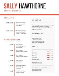 corporate resume templates White and Orange Corporate Resume - Templates by Canva Simple Resume Template, Resume Templates, Infographic Resume Template, Fashion Resume, Graphic Design Resume, Sample Resume, Resume Ideas, Free Resume, My Design