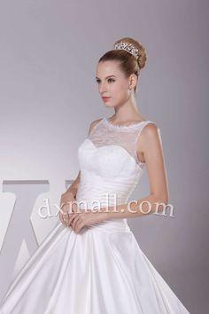 Drop Waist Wedding Dresses Scoop Chapel Train Satin Ivory 010010700812