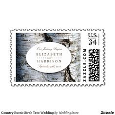 Country Rustic Birch Tree Wedding Postage Stamp