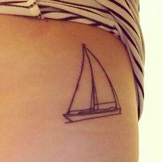 Sailboat tattoo, petite bateau, linework tattoo, fine line tattoo, boat tattoo, travel tattoo Dad Tattoos, Time Tattoos, Family Tattoos, Tattoo Photo, Picture Tattoos, Tasteful Tattoos, Small Tattoos, One Line Tattoo, Memorial Tattoos