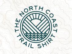 The North Coast Trail Shirt apparel logo badge outdoor topo map trees mountains sun West Coast Logo, North Coast Trail, Map Logo, Outdoor Logos, Library Logo, Logo Word, Photographer Logo, Vintage Logo Design, Vintage Logos