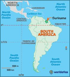 Suriname is a small country positioned on the northern edge of South America, and bordered by Guyana, French Guiana, Brazil and the Atlantic Ocean.