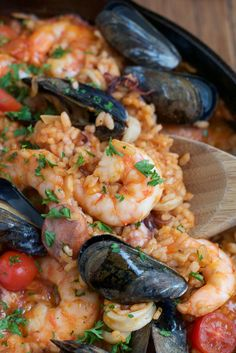 Easy, delicious and flavorful Seafood Paella that you can make at home! And you don't need a paella pan!