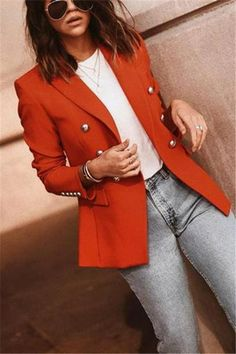 Autumn and winter fashion pure color suit jacket coats jackets. Ts for women winter. L coats. Ts outfits. Blazer Outfits Casual, Blazer Fashion, Fashion Outfits, Womens Fashion, Vest Outfits, Orange Blazer Outfits, Fashion Ideas, Jackets Fashion, Woman Outfits