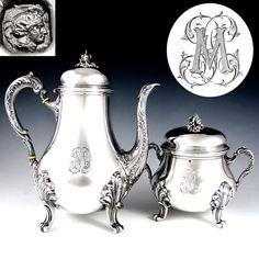 Antique French Sterling Silver TETARD Coffee Pot & Sugar Bowl