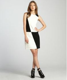 Ivy & Blu black and ivory colorblock sleeveless dress