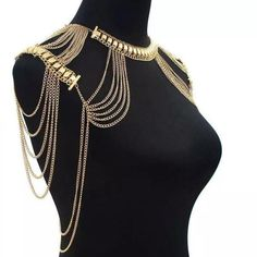 Alloy Multilayer Tssel Necklace Classic Style Jewelry Statement Necklace Body Chain Shoulder Chain for Women Bikini Jewelry, Tassel Jewelry, Body Jewelry, Chain Jewelry, Tassel Necklace, Silver Jewelry, Statement Jewelry, Bridal Jewelry, Beaded Jewelry