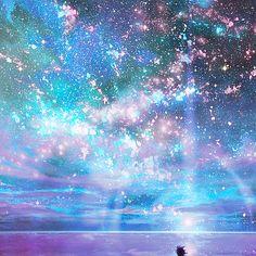 Anime art sky galaxy