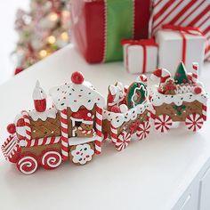 Raz Gingerbread Train Christmas Figure 3819122 - My best home decor list Gingerbread Train, Gingerbread Christmas Decor, Gingerbread Crafts, Candy Cane Christmas Tree, Gingerbread Decorations, Christmas Train, Christmas Cookies, Christmas Time, Christmas Crafts