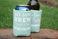 Let Love Brew Wedding Koozies - Custom @weddingkoozies are the perfect wedding favor! 1 Color or Multi Color, we got it all! - Kooziez.com
