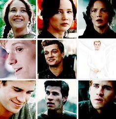 The Hunger Games   Catching Fire   Mockingjay Part 1   Katniss Everdeen, Peeta Mellark and Gale Hawthorne