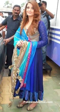 Aishwarya Rai in Peacock Blue Designer Long Frock Anarkali Churidar by Manish Malhotra-PakeezaAnchal.com