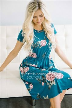 Dark Teal Pink Floral Pocket Dress, Modest Dress Bridesmaids Dress, best modest boutique, cute modest clothes, modest dresses, best online modest boutique, floral dresses, modest dresses for church, modest skirts, buy modest clothes online