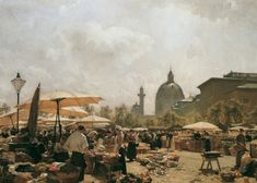 Moll - Der Naschmarkt in Wien, Belvedere, Wien Classical Art, Gustav Klimt, Claude Monet, Urban Landscape, Urban Art, Vienna, Painting & Drawing, Amazing Art, Art Nouveau