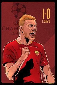 As Roma Edin Dzeko Champions League Art: Hot Stuff As Roma, Rockn Roll, Music Stuff, Champions League, I Am Awesome, Pin Up, Soccer, Sport, Illustration