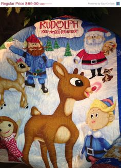 """Happy Holidays Sale Rudolph The Red Nosed Reindeer Quilt 43"""" X 52""""."""