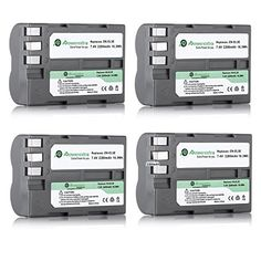 Powerextra 4 Pack High Capacity Replacement Nikon EN-EL3E Battery for Nikon D50, D70, D70s, D80, D90, D100, D200, D300, D300S, D700 Digital SLR Cameras