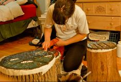 Beautiful Way of Reusing Old Wood Logs With Ceramics Into Stools Recycled Art Wood & Organic