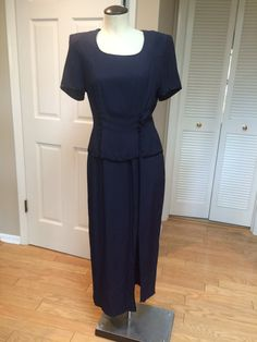 Short Sleeve Peplum Long Pencil Dress-Navy by PDeeVintage on Etsy