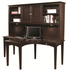 E2 Transitional Two-Person Dual T Curved Desk with Storage Hutch Combination by Aspenhome - Becker Furniture World - L-Shape Desk Twin Cities, Minneapolis, St. Paul, Minnesota
