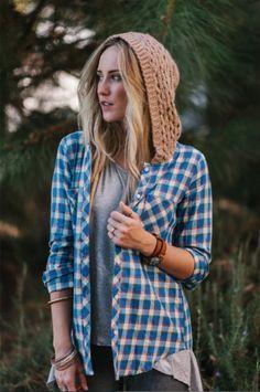 oversized plaid shirt with knitted hood @threebirdnest #flannel #plaidshirt #winter