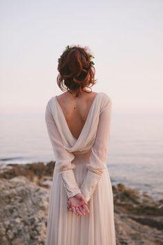vintage inspired draped back wedding dress