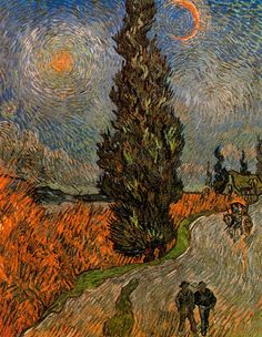Vincent Van Gogh, Road with cypress under a starry sky, 1890