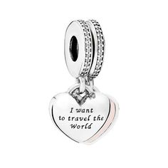 PANDORA 'Travel Together Forever' Charm ($70) ❤ liked on Polyvore featuring jewelry, pendants, pandora jewellery, pandora jewelry, charm jewelry, charm pendant and sparkle jewelry