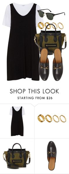 """Sin título #13028"" by vany-alvarado ❤ liked on Polyvore featuring Zizzi, Made, CÉLINE, Gucci and Topshop"