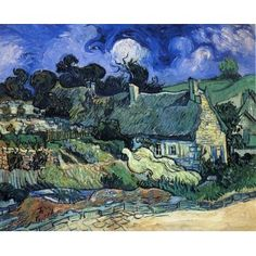 Houses with Thatched Roofs, Cordeville VanGogh Oil Painting for sale on overArts.com