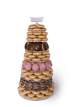 The assorted Krispy Kreme doughnut tower comes with 204 freshly made doughnuts in your favourite flavours. perfect alternative wedding cake!
