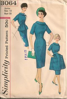 UNCUT Vintage 1960's Dress Pattern Simplicity 3064