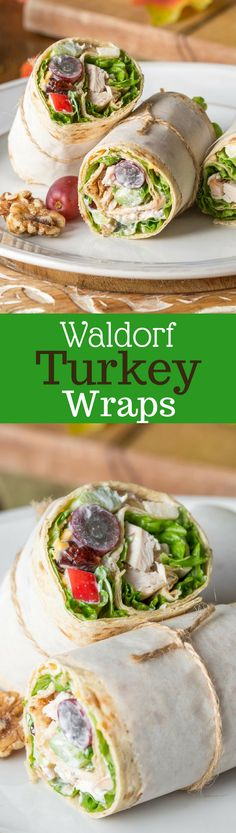 Turkey Waldorf Wraps - with tender roasted turkey, shredded cheese and a light, fruity Waldorf Salad rolled up in a simple Lavash flatbread. www.savingdessert.com