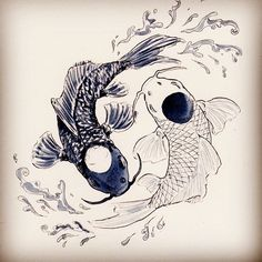 110 Best Japanese Koi Fish Tattoo Designs and Drawing .- 110 besten japanischen Koi Fisch Tattoo Designs und Zeichnungen – Tattoosideen 110 Best Japanese Koi Fish Tattoo Designs and Drawings – Tattoosideen – - Yin Yang Tattoos, Tatuajes Yin Yang, Dragon Yin Yang Tattoo, Fish Drawings, Tattoo Drawings, Body Art Tattoos, Fish Tattoos, Koy Fish Drawing, Zodiac Tattoos