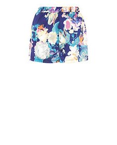 Girls On Film Blue Floral Print Shorts  | New Look