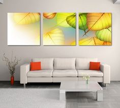 Amazon.com: Hot Sell 3 Panels 40 x 40 cm Modern Wall Painting Darling Leaves Yellow Feeling Picture Home Decorative Art Picture Paint On Canvas Prints: Posters & Prints