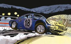Alpine in the snow Alpine Renault, Renault Sport, Sketch Painting, Car Painting, Grafic Art, Bike Illustration, Art Articles, Strip, Car Drawings