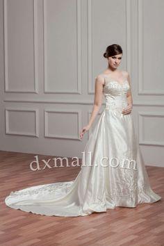 Pick Up Wedding Dresses Spaghetti Straps Chapel Train Taffeta Satin Champagne 010010900907