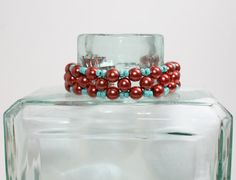 Czech Glass Pearls with Seed Beads Coppery Teal by DESIGNBYSTARLA, $35.00