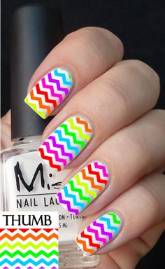 Colorful Striped Cheveron Nail Decal