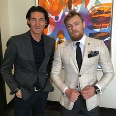 """UFC SuperStar Conor McGregor """"world press tour ready"""" in one of his favorite David August Couture outfits! Mcgregor Suits, Conor Mcgregor Style, Ufc Conor Mcgregor, David August Suits, Suit Fashion, Mens Fashion, Tailor Made Suits, Meeting Outfit, Couture Outfits"""